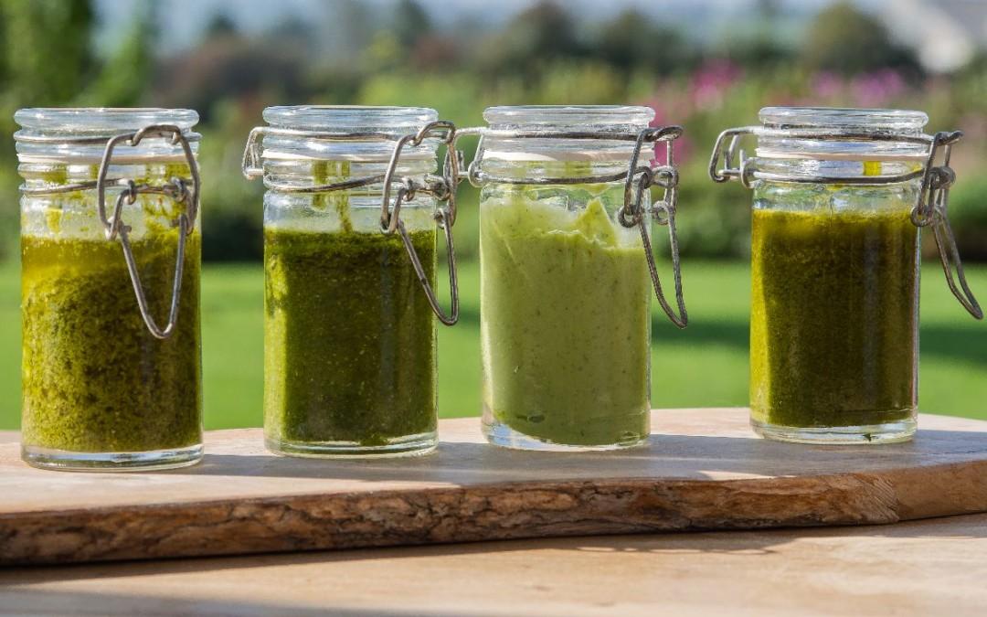 Pestos printaniers aux jeunes herbes