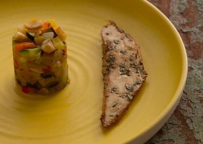 Viande - Hypocuisson de poulet au romarin et piperade de l'égumes d'été -2944